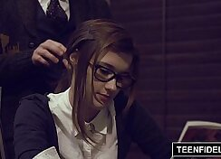 Big titted schoolgirl is teambanged by her teacher