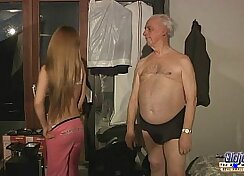 Busty blonde hot titty fucked by a grandpa