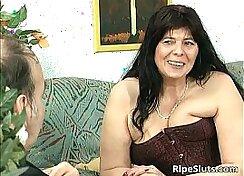 Big tit mom visits fat guy - recording