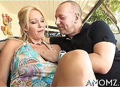 Blond mom fucked from behind while she films her hanging cocks