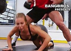 Cute busty Sydney gym babe gets pussy