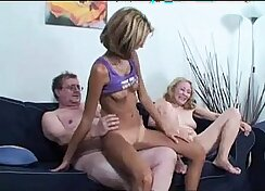 Busty granny drilled with three caning