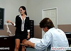 Alluring blonde gets her big tits squeezed by excited teacher