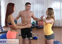 Busty fitness freak mounts several cocks in a threesome