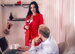 Big tit beautie Aletta Ocean pussy and ass fucked on stairway