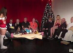 Christmas group blowjob orgy with teens temptress Niki Lee