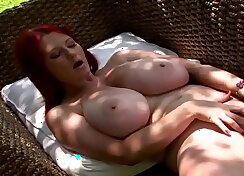 Charming redhead mommy with juicy cunt exposes her terrific body