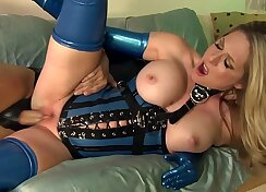 Crossdresser in latex suit gets chained high