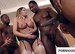Busty Alison Market gets interracial anal gangbang