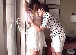 Best Japanese girl Megura Rie is working on her hard knob