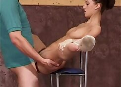 Cowgirl tugged on her dick at the gym