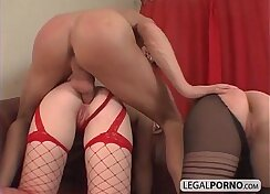 Blonde taking a big dick in her plump ass