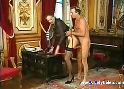 Beautiful granny with golden heels in hot anal