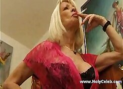 Busty French mature bends for guys