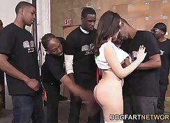 Attractive gal gives a solid oral job to wet black cock