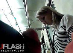 Blonde amateur teen flash in public and horny gardener Swalloween Fun