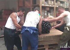 Busty secretary slammed hard in rough gangbang